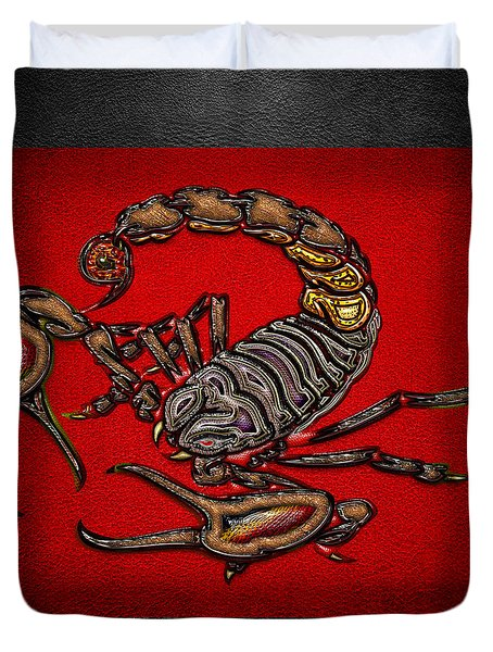 Scorpion On Red And Black  Duvet Cover by Serge Averbukh