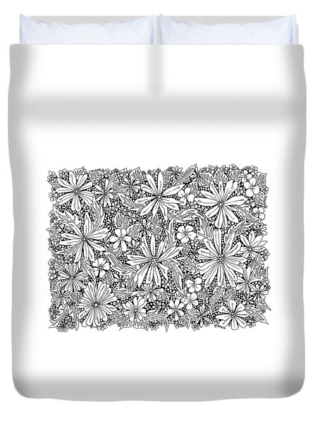 Sea Of Flowers And Seeds At Night Horizontal Duvet Cover by Tamara Kulish