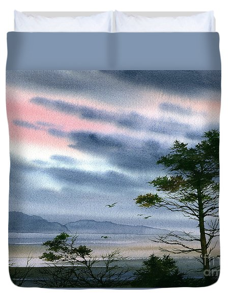 Seacoast Winter Sunset Duvet Cover by James Williamson