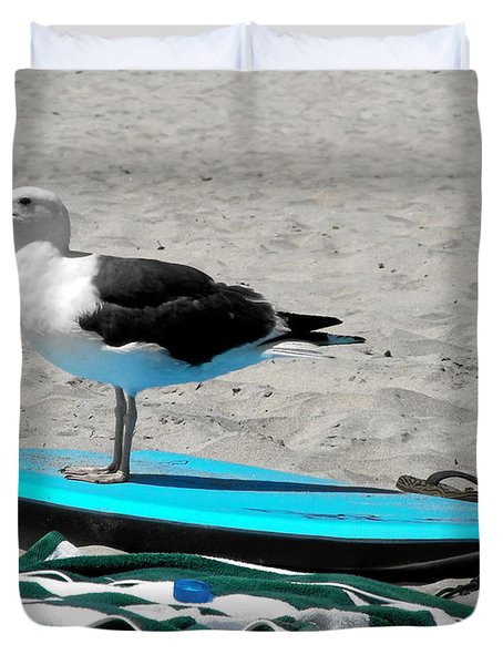 Seagull On A Surfboard Duvet Cover by Christine Till