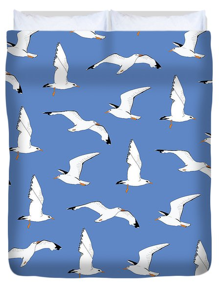 Seagulls Gathering At The Cricket Duvet Cover by Elizabeth Tuck