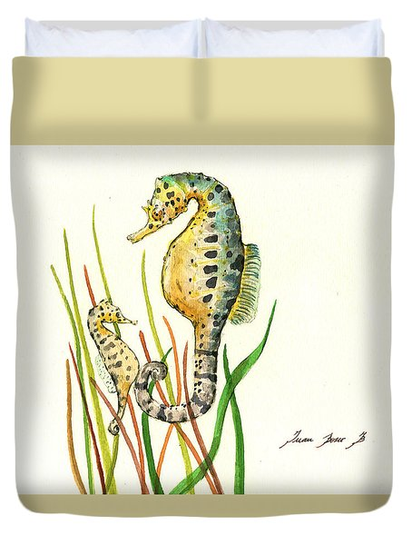 Seahorse Mom And Baby Duvet Cover by Juan Bosco