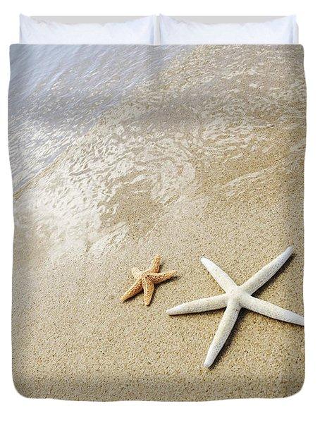 Seastars on Beach Duvet Cover by Mary Van de Ven - Printscapes