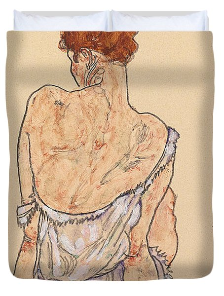 Seated Woman In Underwear Duvet Cover by Egon Schiele