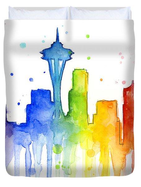 Seattle Rainbow Watercolor Duvet Cover by Olga Shvartsur