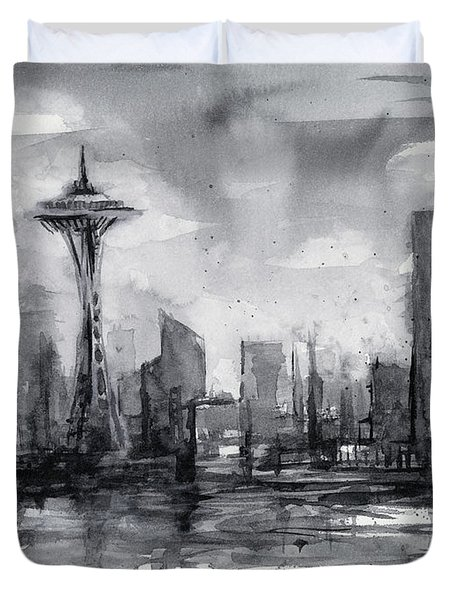 Seattle Skyline Painting Watercolor  Duvet Cover by Olga Shvartsur