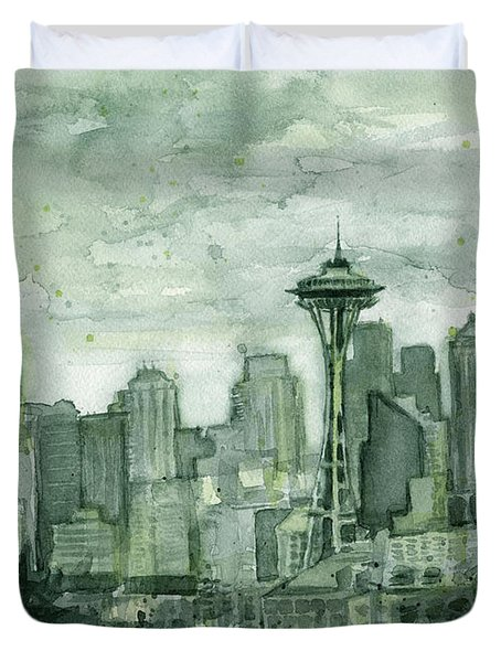 Seattle Skyline Watercolor Space Needle Duvet Cover by Olga Shvartsur