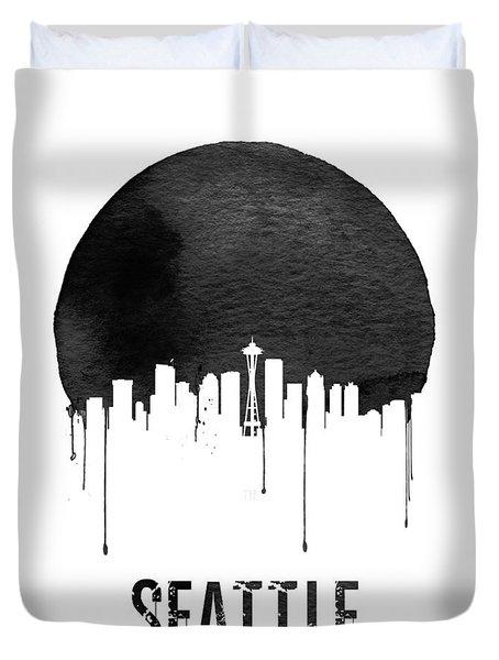 Seattle Skyline White Duvet Cover by Naxart Studio