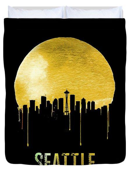 Seattle Skyline Yellow Duvet Cover by Naxart Studio