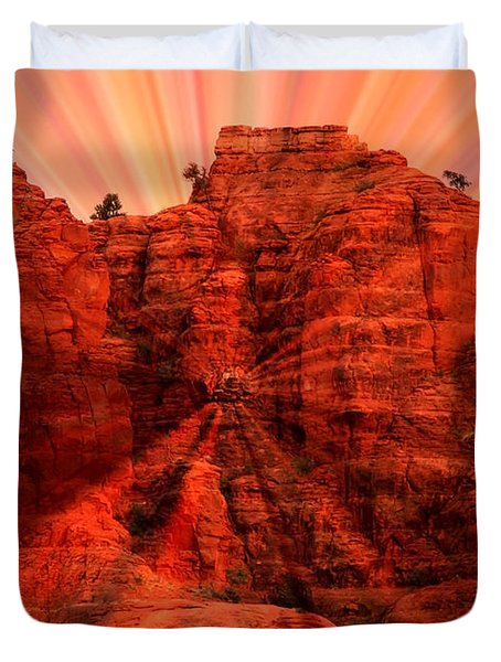 Sedona Sunset Energy - Abstract Art Duvet Cover by Carol Groenen
