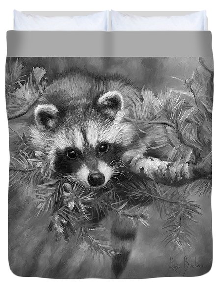 Seeking Mischief - Black And White Duvet Cover by Lucie Bilodeau