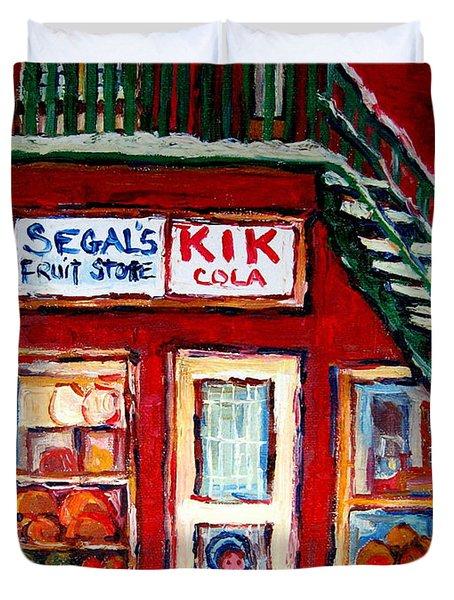 Segal's Market St.lawrence Boulevard Montreal Duvet Cover by Carole Spandau