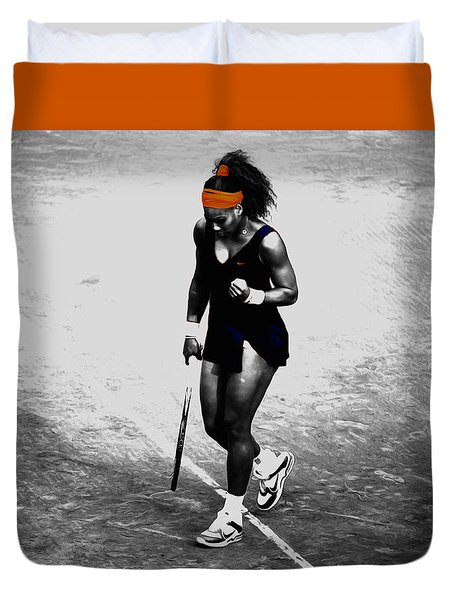 Serena Williams Match Point 3a Duvet Cover by Brian Reaves
