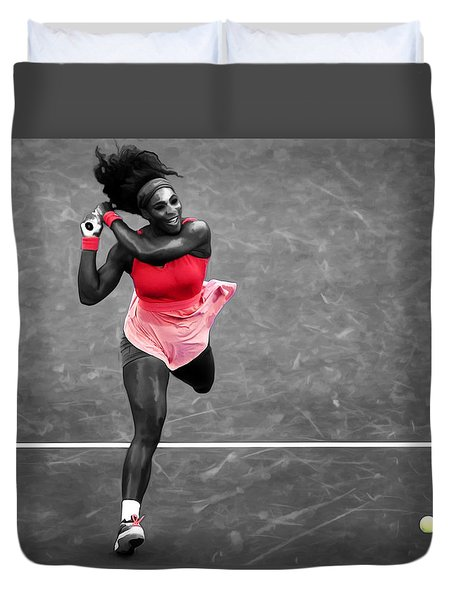 Serena Williams Strong Return Duvet Cover by Brian Reaves