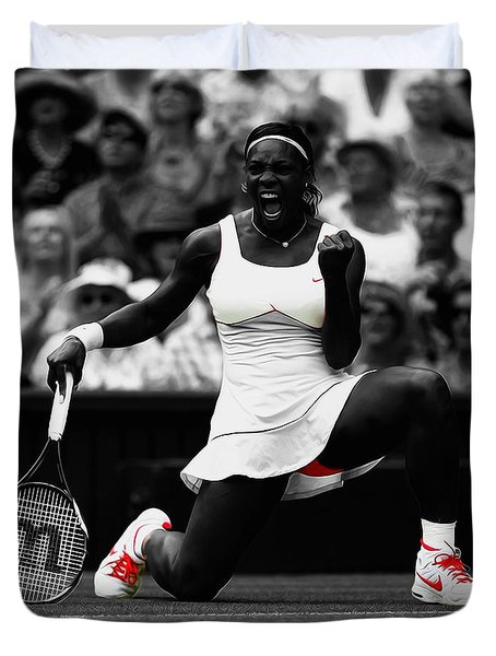 Serena Williams Wimbledon 2010 Duvet Cover by Brian Reaves