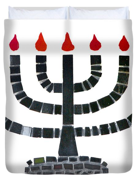 Seven-branched Temple Menorah Duvet Cover by Christine Till