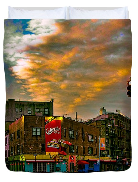 Seventh And Bleeker At Sunrise Nyc Duvet Cover by Chris Lord
