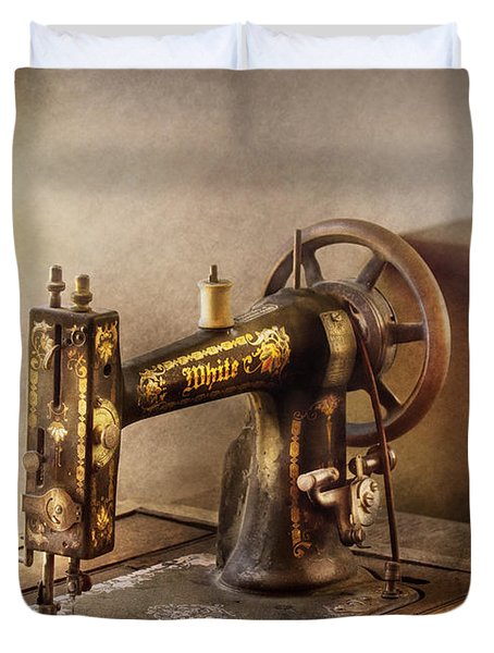Sewing - A Black And White Sewing Machine  Duvet Cover by Mike Savad