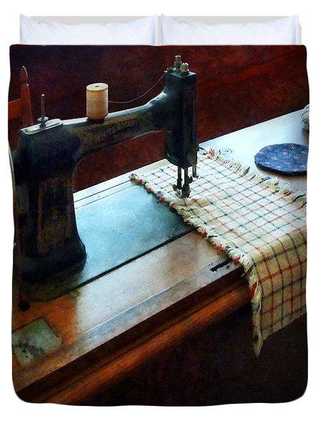 Sewing Machine And Pincushions Duvet Cover by Susan Savad