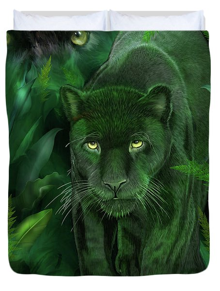 Shadow Of The Panther Duvet Cover by Carol Cavalaris