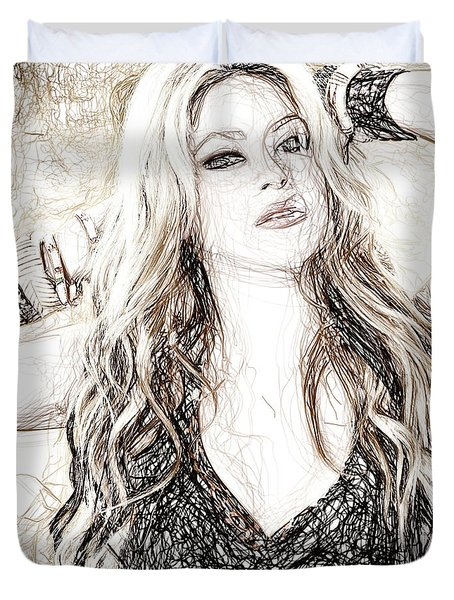 Shakira - Pencil Art Duvet Cover by Raina Shah