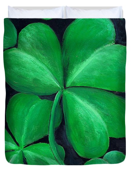 Shamrocks Duvet Cover by Nancy Mueller