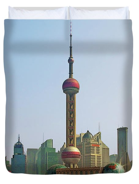 Shanghai Pudong - Today Denser Than Yesterday But Less Than Tomorrow Duvet Cover by Christine Till