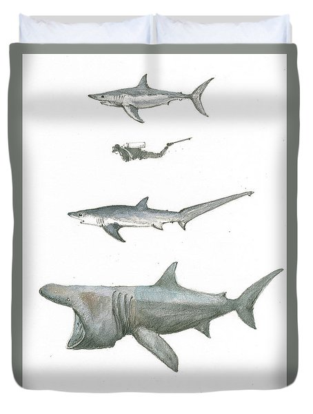 Sharks In The Deep Ocean Duvet Cover by Juan Bosco