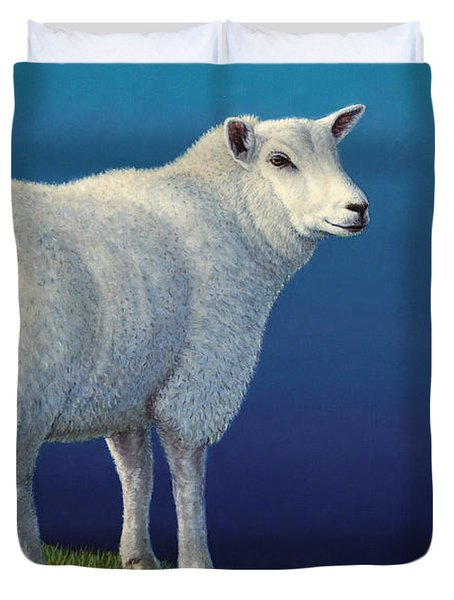 Sheep at the edge Duvet Cover by James W Johnson