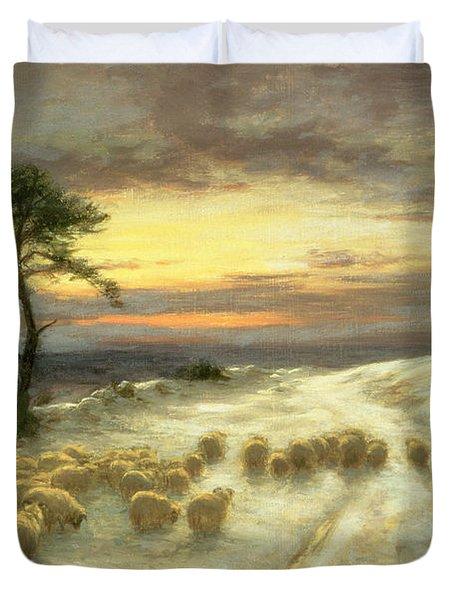 Sheep In The Snow Duvet Cover by Joseph Farquharson