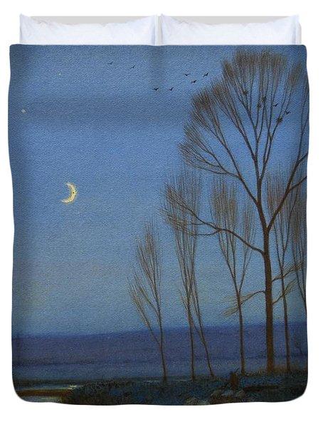 Shepherd And Sheep At Moonlight Duvet Cover by OB Morgan