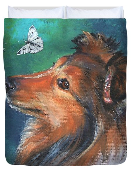 Shetland Sheepdog And Butterfly Duvet Cover by Lee Ann Shepard