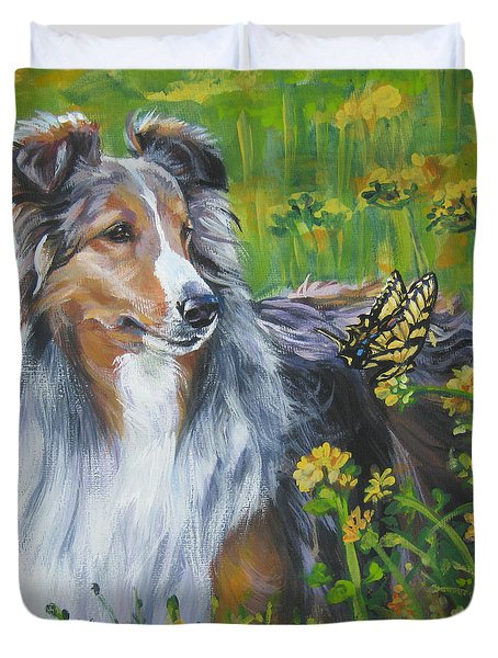 Shetland Sheepdog Wildflowers Duvet Cover by Lee Ann Shepard