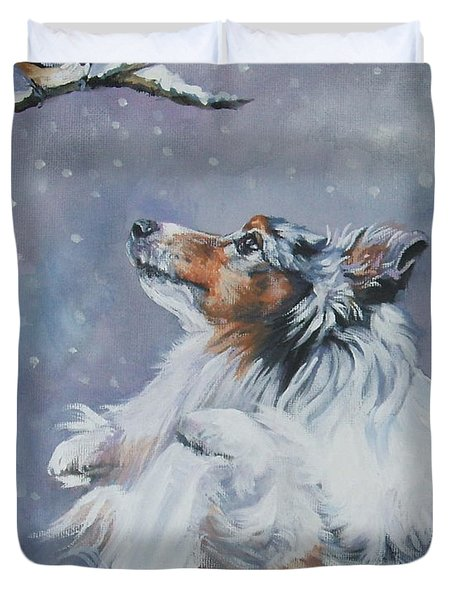 Shetland Sheepdog With Chickadee Duvet Cover by Lee Ann Shepard