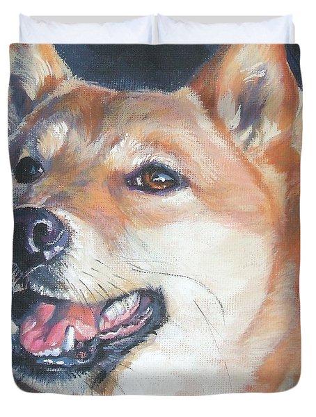 Shiba Inu Duvet Cover by Lee Ann Shepard
