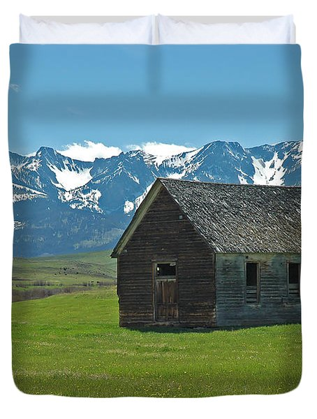 Shields Valley Abandoned Farm Ranch House Duvet Cover by Bruce Gourley