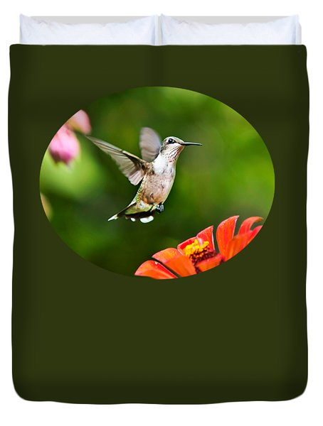 Shimmering Breeze Hummingbird Duvet Cover by Christina Rollo
