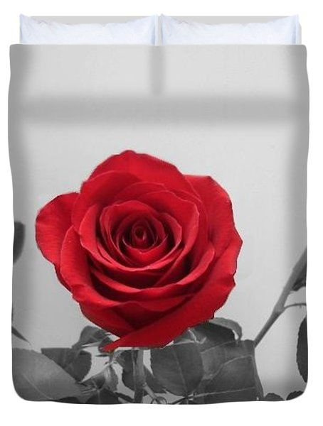 Shining Red Rose Duvet Cover by Georgeta  Blanaru