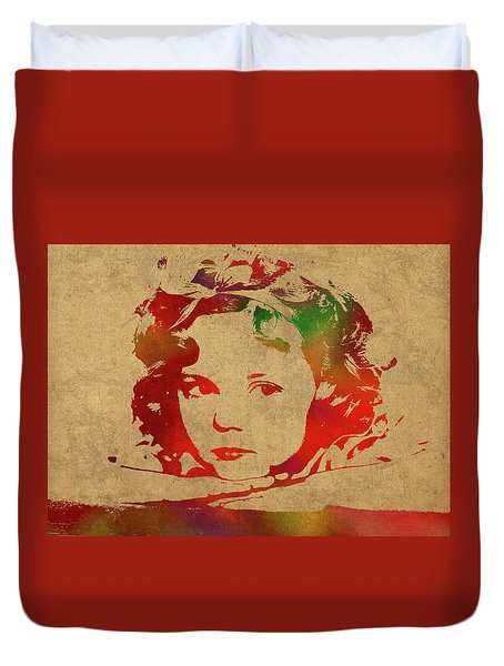 Shirley Temple Watercolor Portrait Duvet Cover by Design Turnpike