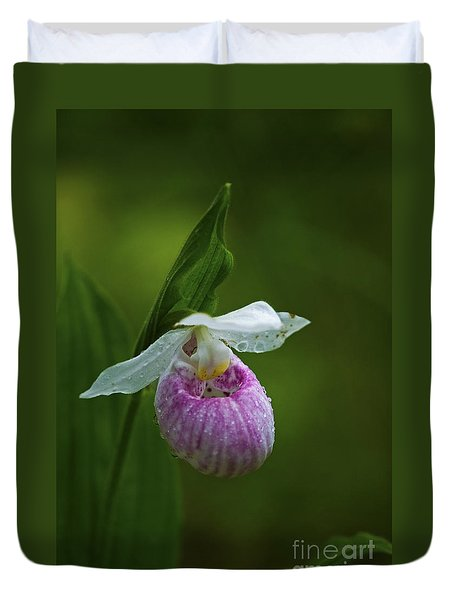 Showy Lady's Slipper.. Duvet Cover by Nina Stavlund