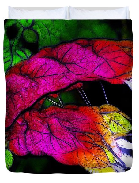 Shrimp Plant Duvet Cover by Judi Bagwell