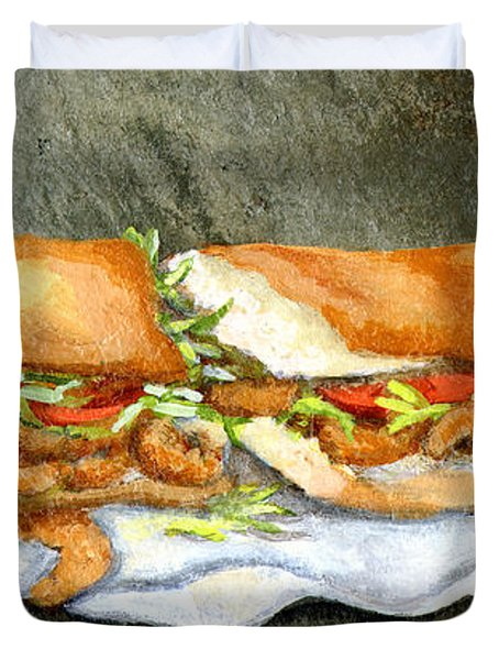 Shrimp Po Boy Duvet Cover by Elaine Hodges
