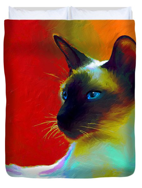 Siamese Cat 10 Painting Duvet Cover by Svetlana Novikova