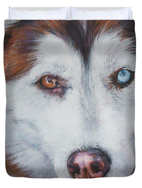 Siberian husky red Duvet Cover by Lee Ann Shepard