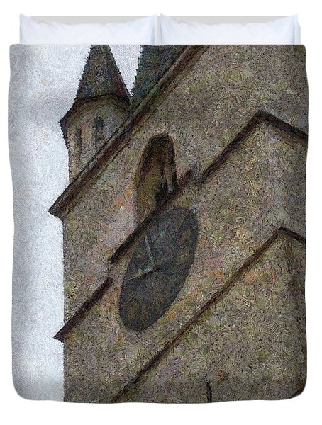 Sibiu Clock Tower Duvet Cover by Jeff Kolker