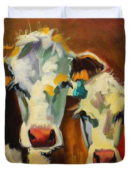 Sibling Cows Duvet Cover by Diane Whitehead
