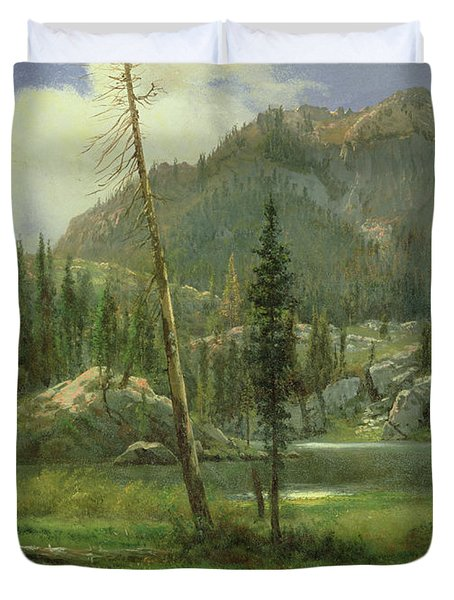 Sierra Nevada Mountains Duvet Cover by Albert Bierstadt