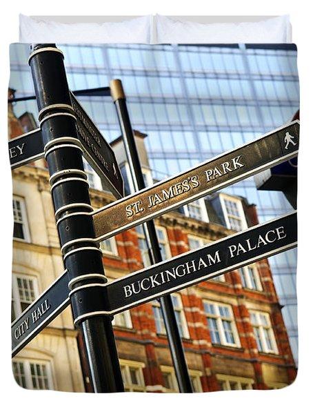 Signpost in London Duvet Cover by Elena Elisseeva