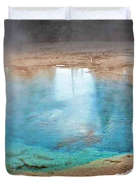 Silex Spring Fountain Paint Pot Yellowstone National Park Wy Duvet Cover by Christine Till