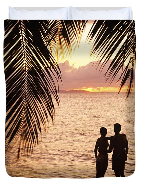 Silhouetted Couple Duvet Cover by Larry Dale Gordon - Printscapes